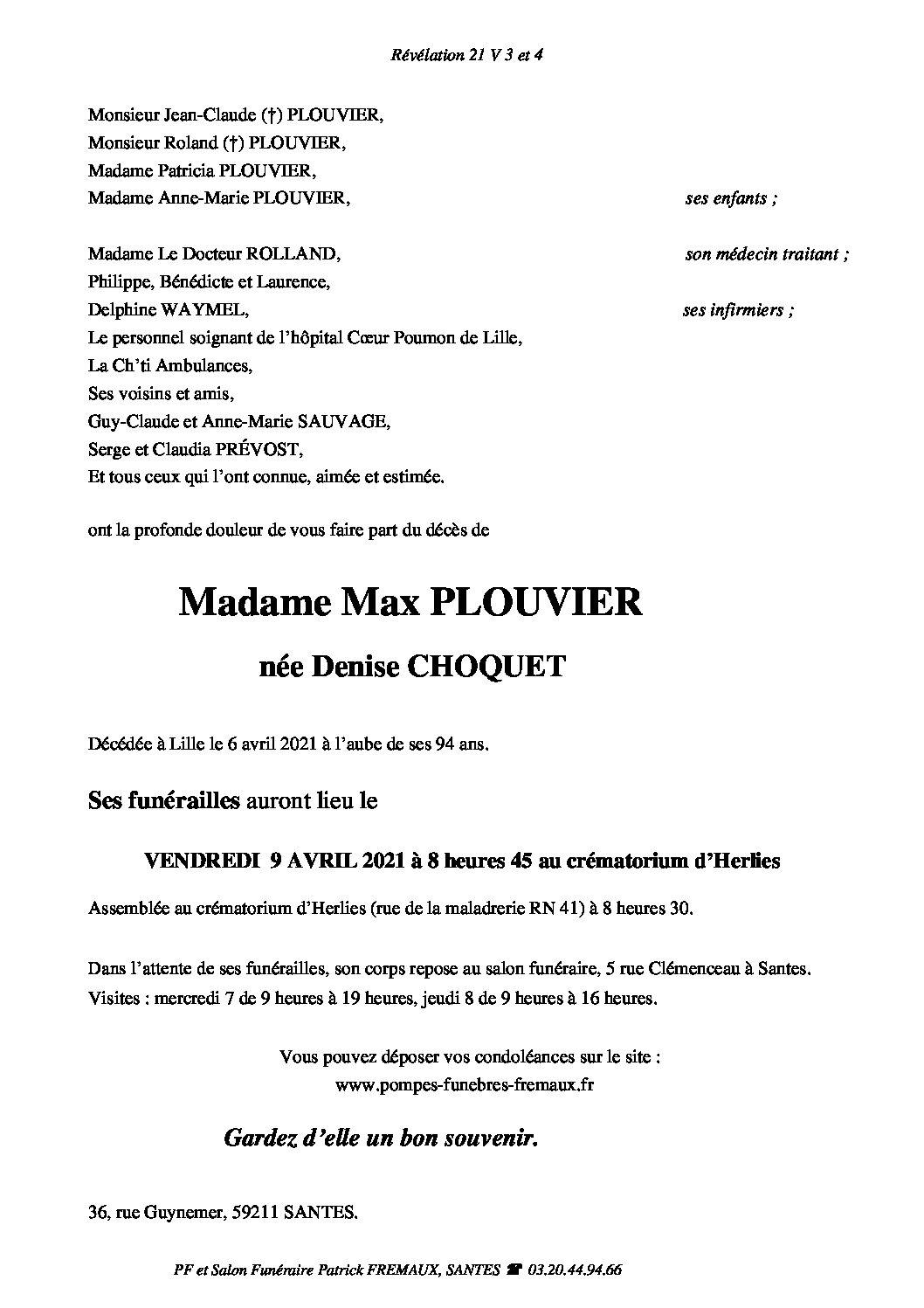 Madame veuve Max PLOUVIER née Denise CHOQUET