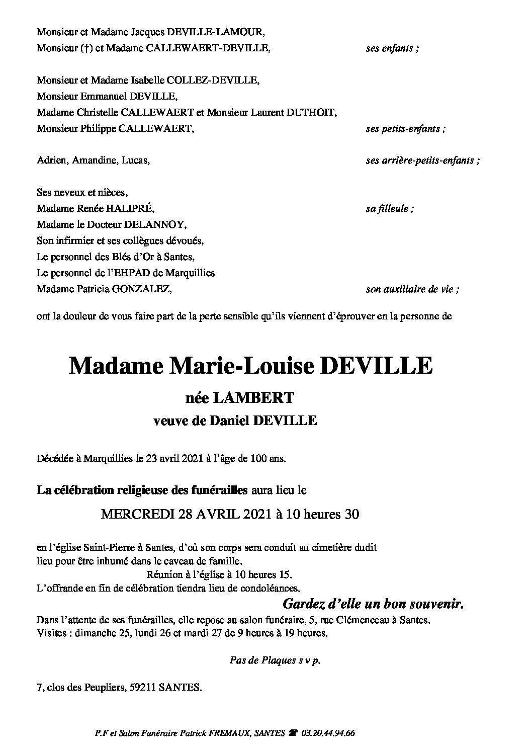 Madame Marie-Louise DEVILLE née LAMBERT