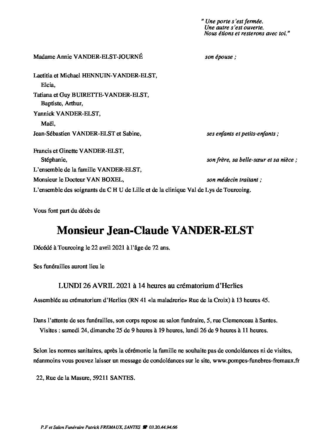 Monsieur Jean-Claude VANDER-ELST