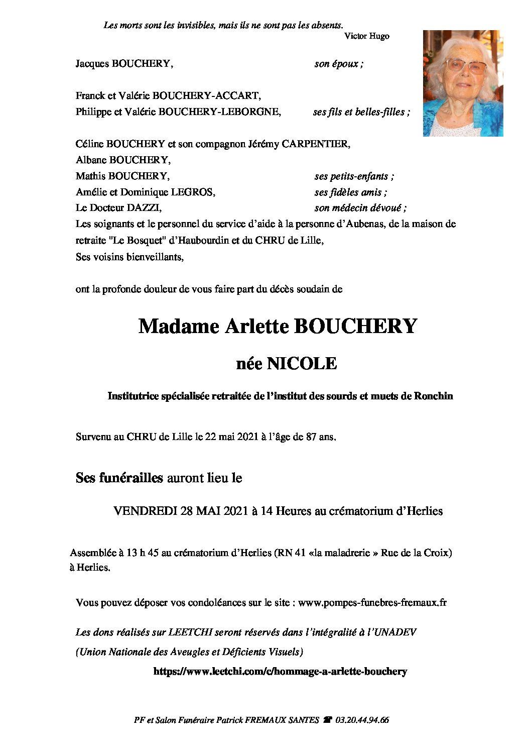 Madame Arlette BOUCHERY née NICOLE
