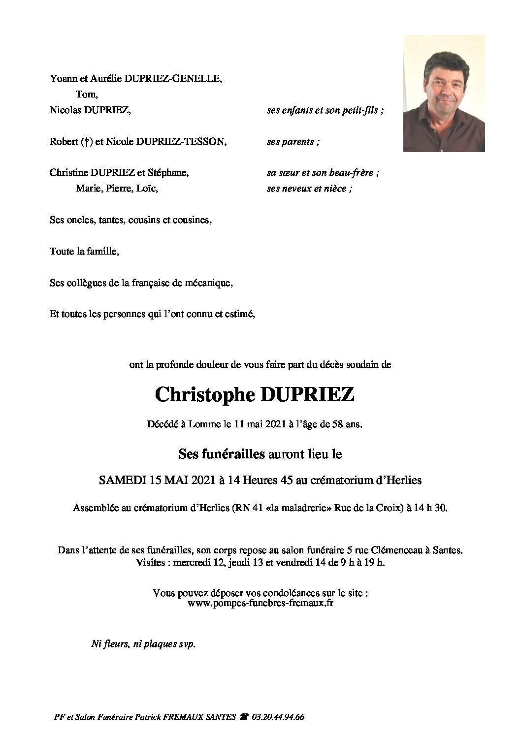 Monsieur Christophe DUPRIEZ