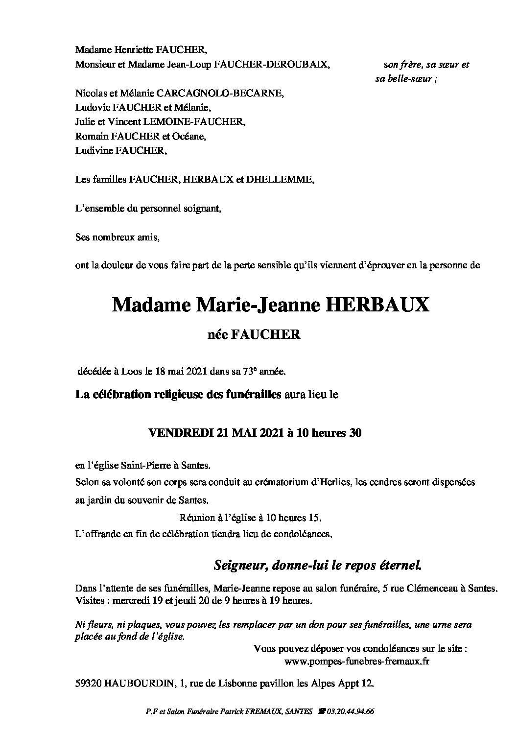 Madame Marie-Jeanne HERBAUX née FAUCHER