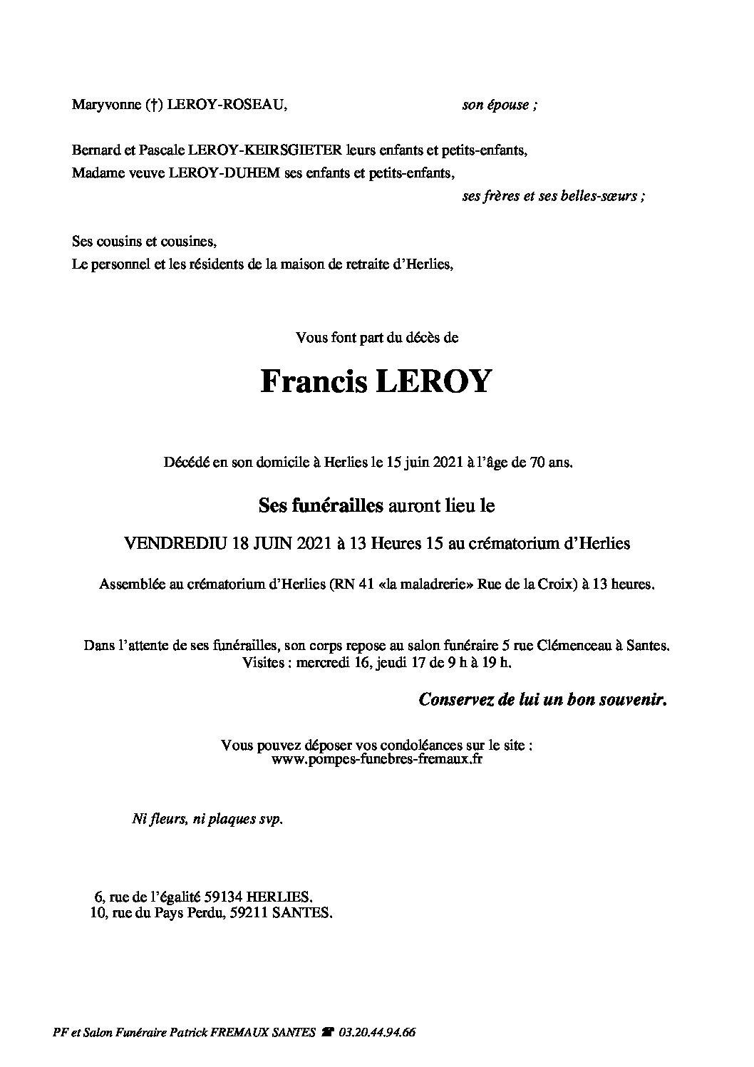 Monsieur Francis LEROY