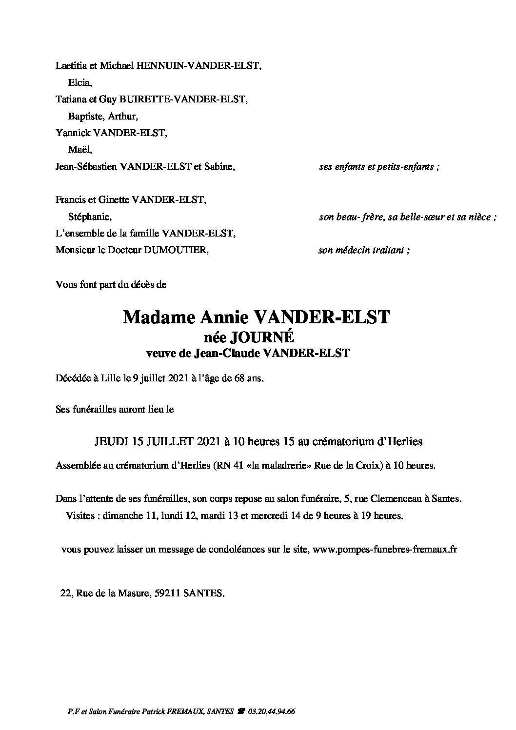 Madame Annie VANDER-ELST née JOURNÉ