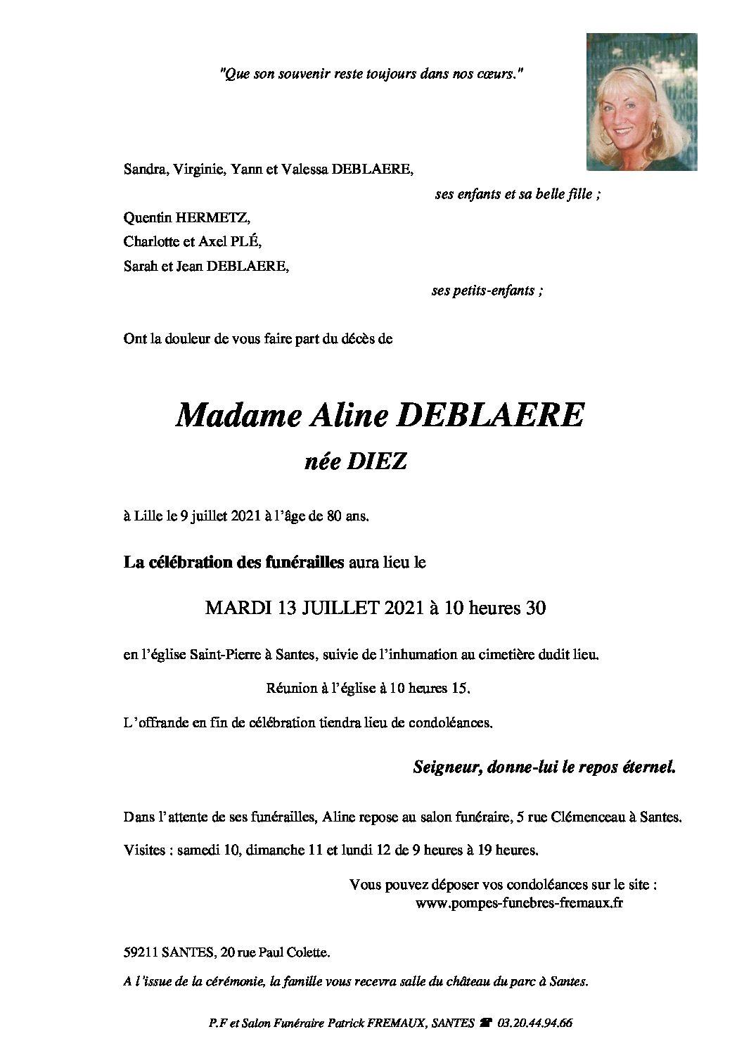 Madame Aline DEBLAERE née DIEZ