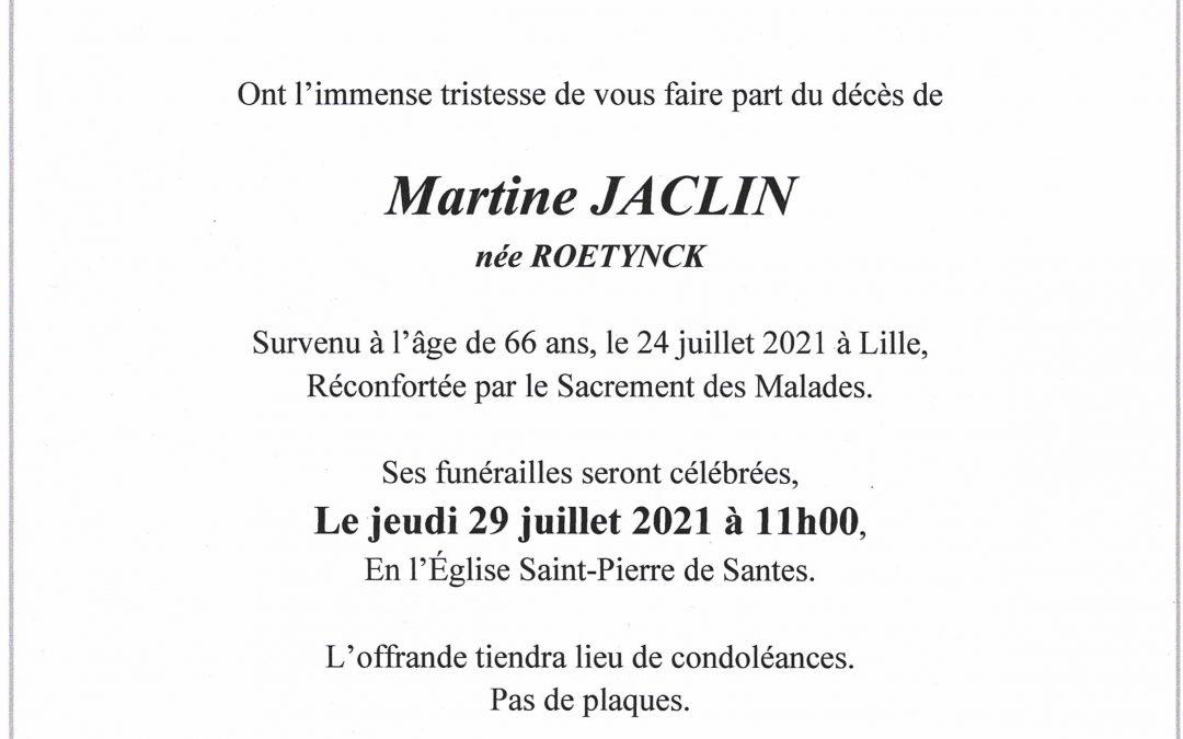 Madame Martine JACLIN née ROETYNCK