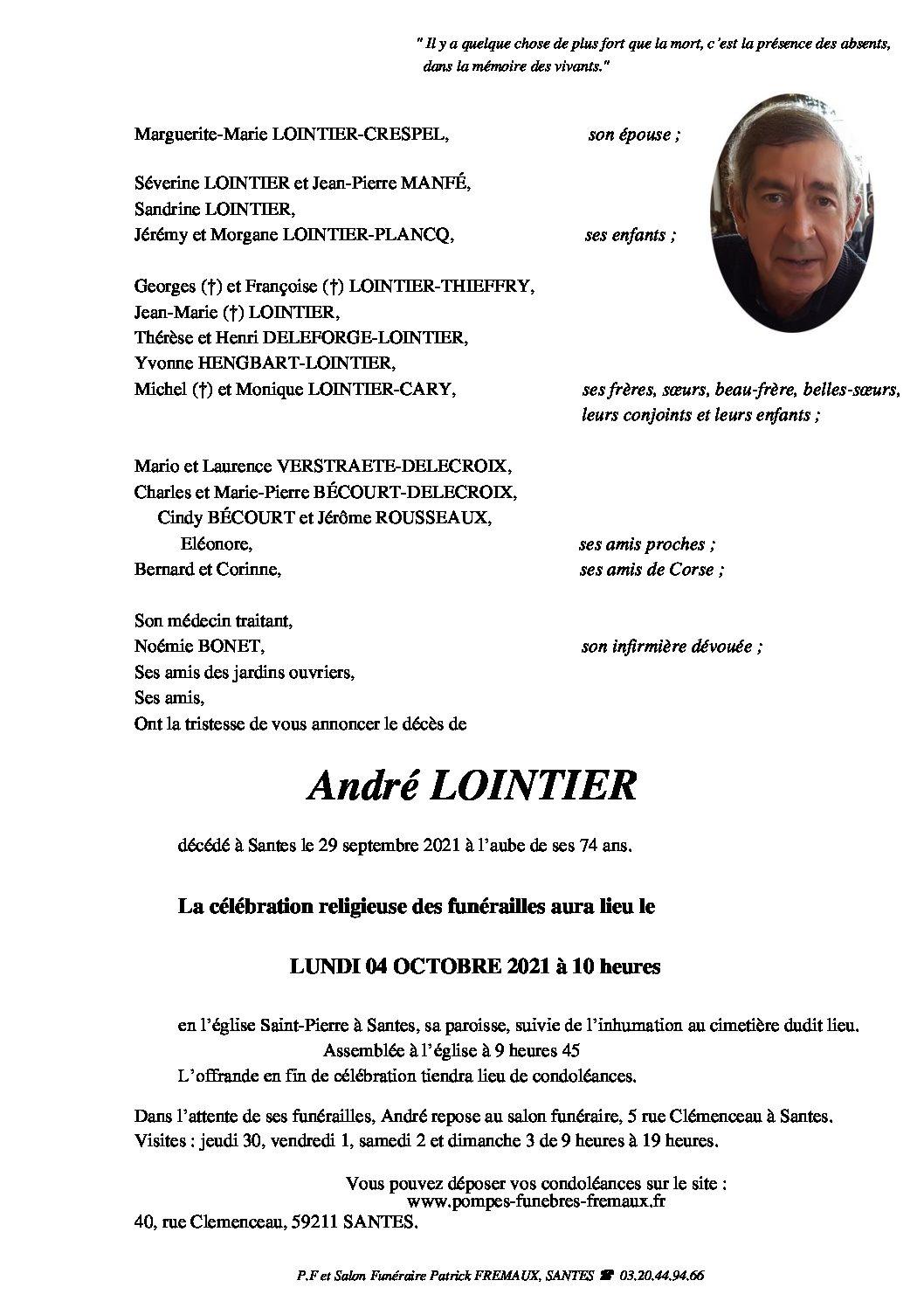 Monsieur André LOINTIER